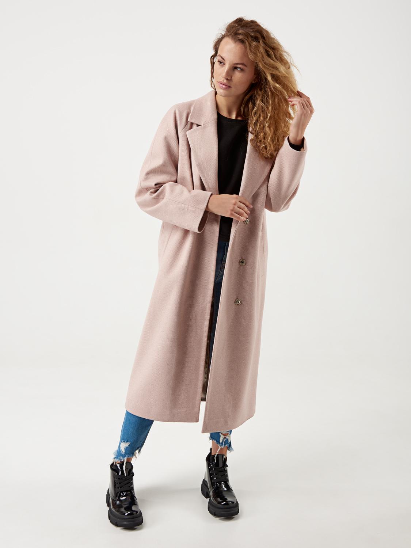 Пальто жіноче в клітку пудра