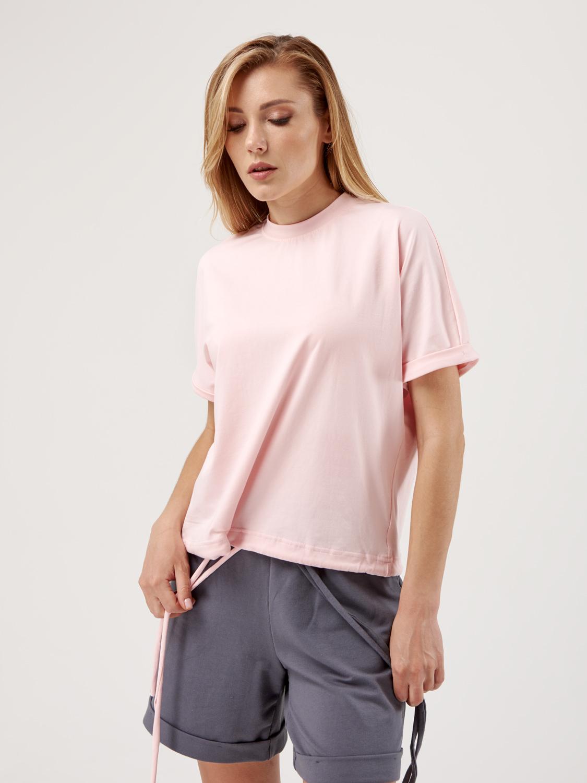 Костюм жіночий KWS з шортами пудра/графіт