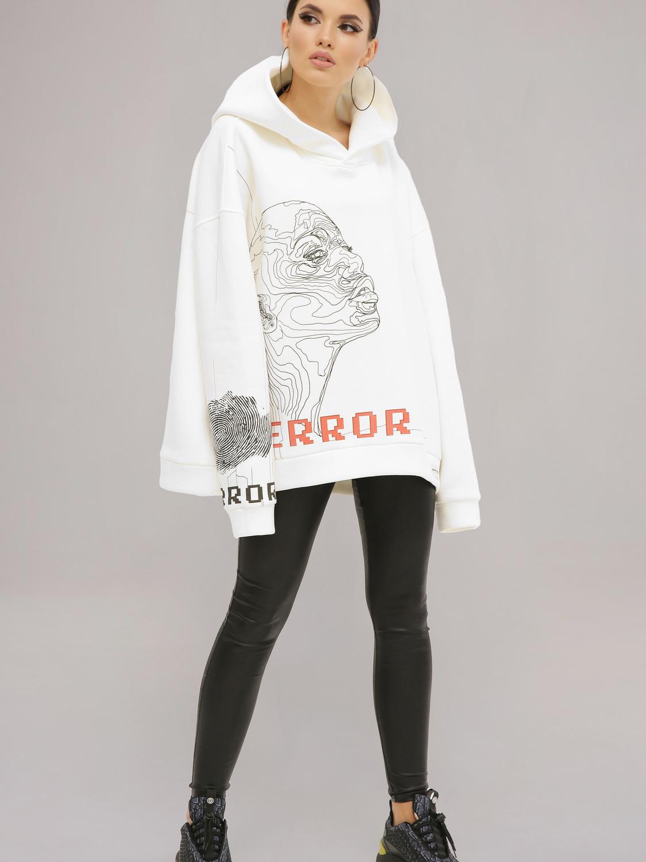 Худі жіночий білий з принтом «Error»