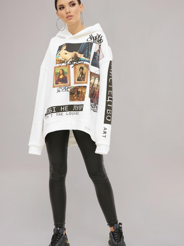 Худі жіночий білий з принтом «Лувр»