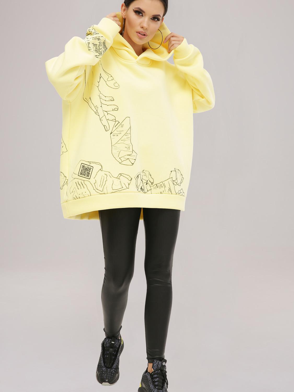 Худі жіночий жовтий з принтом «Чек»