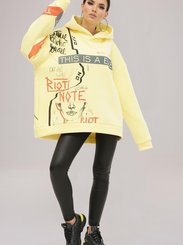 Худі жіночий жовтий з принтом «Riot»