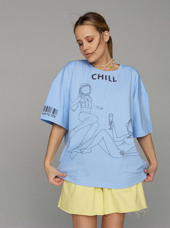 Футболка жіноча блакитна CHILL